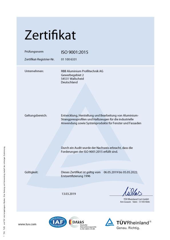 TÜV Rheinland Zertifikat DE RBB Aluminium